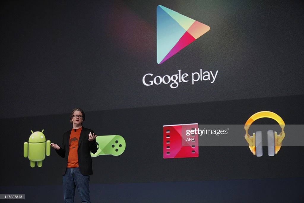 Chris Yerga, engineering director of Google, introduces some features of Google play during Google's annual developer conference, Google I/O, at Moscone Center in San Francisco on June 27, 2012. AFP PHOTO/Kimihiro Hoshino
