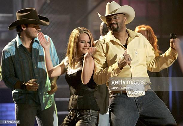 Chris Young Nicole Jamrose and Cowboy Troy during Nashville Star Season 4 Episode 5 at Television Studio in Nashville TN United States