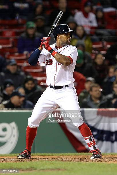 Chris Young of the Boston Red Sox bats in the eighth inning during the game against the Baltimore Orioles at Fenway Park on April 12 2016 in Boston...