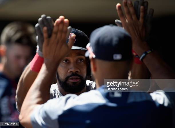 Chris Young of the Boston Red Sox celebrates a solo home run against the Minnesota Twins during the second inning of the game on May 6 2017 at Target...