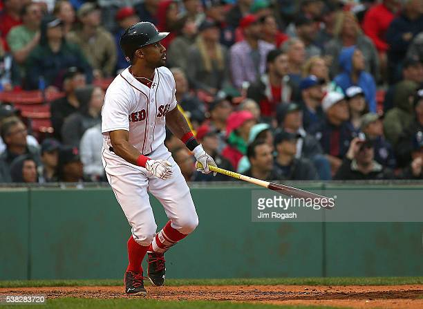 Chris Young of the Boston Red Sox connects for a home run against Marco Estrada of the Toronto Blue Jays in the eighth inning to break up a nohitter...