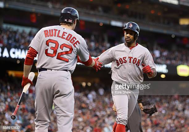 Chris Young of the Boston Red Sox is congratulated by Josh Rutledge after he hit a home run in the fourth inning against the San Francisco Giants at...