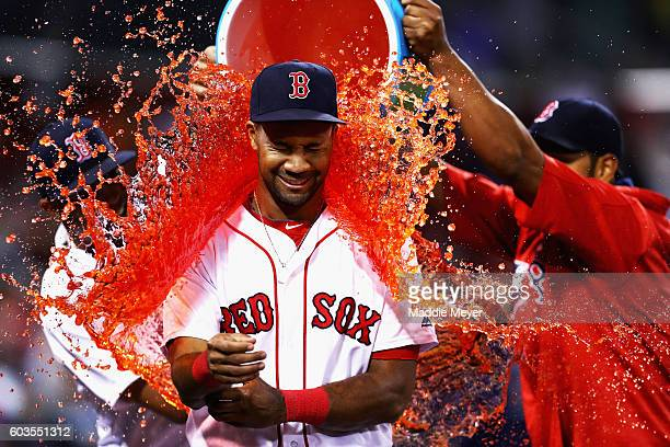 Chris Young of the Boston Red Sox is doused in Powerade after the Boston Red Sox defeated the Baltimore Orioles 122 at Fenway Park on September 12...