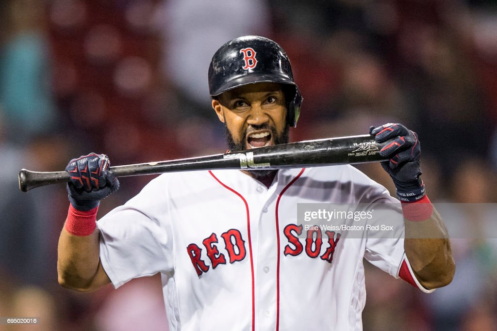 Chris Young #30 of the Boston Red Sox reacts after lining out to end the game against the Detroit Tigers on June 11, 2017 at Fenway Park in Boston, Massachusetts.