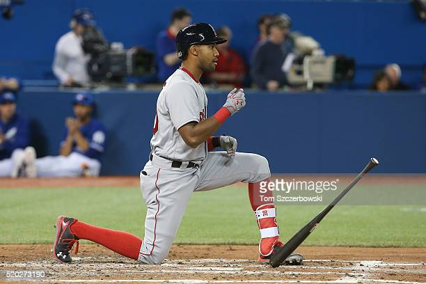 Chris Young of the Boston Red Sox reacts after striking out to end the fourth inning during MLB game action against the Toronto Blue Jays on April 10...