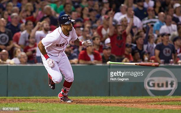 Chris Young of the Boston Red Sox singles to right during the seventh inning against the New York Yankees at Fenway Park on September 18 2016 in...