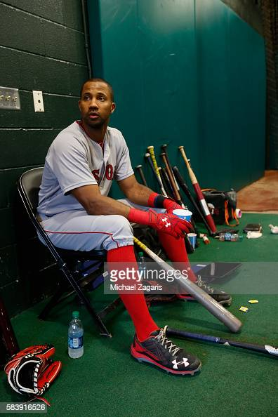 Chris Young of the Boston Red Sox sits in the indoor batting cage prior to the game against the San Francisco Giants at ATT Park on June 8 2016 in...