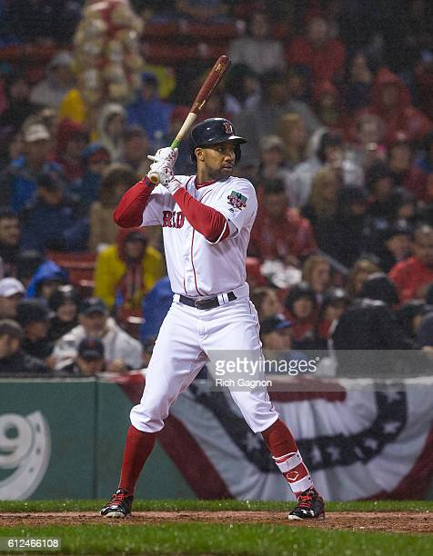 Chris Young of the Boston Red Sox stands at home plate during the first inning of a game against the Toronto Blue Jays at Fenway Park on October 1...