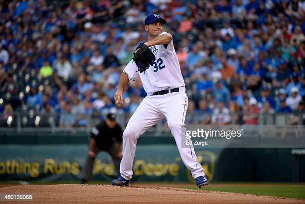 Chris Young of the Kansas City Royals throws against the Minnesota Twins at Kauffman Stadium on July 2 2015 in Kansas City Missouri
