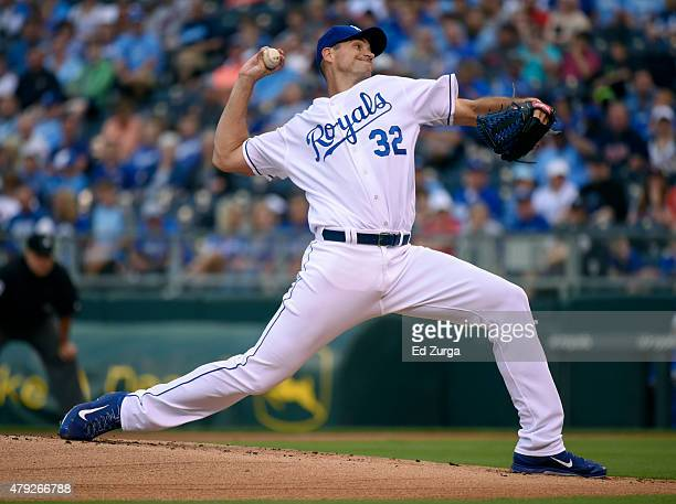 Chris Young of the Kansas City Royals throws in the first inning against the Minnesota Twins at Kauffman Stadium on July 2 2015 in Kansas City...
