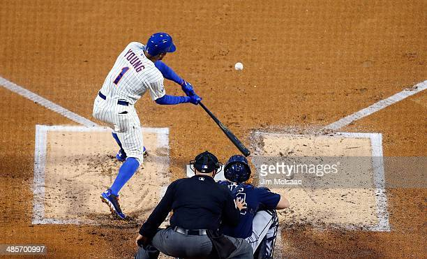 Chris Young of the New York Mets in action against the Atlanta Braves at Citi Field on April 19 2014 in the Flushing neighborhood of the Queens...