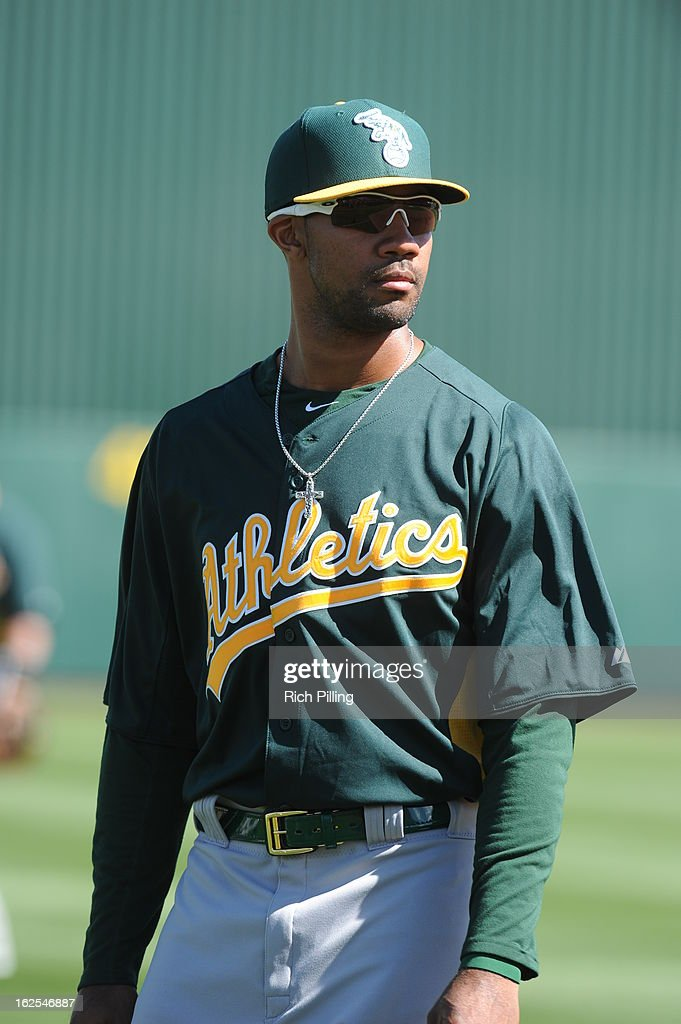 Chris Young #25 of the Oakland Athletics is seen prior to the game against the Los Angeles Angeles of Anaheim on February 24, 2013 at Tempe Diablo Stadium in Tempe, Arizona. The Athletics defeated the Angels 7-5.