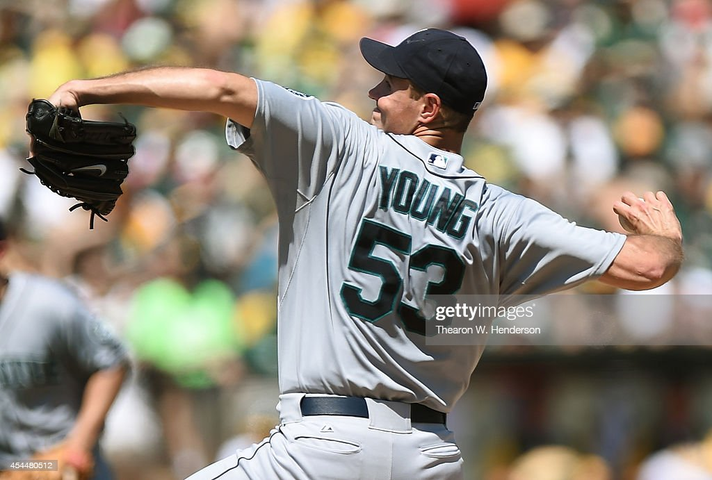 Chris Young #53 of the Seattle Mariners pitches against the Oakland Athletics in the bottom of the first inning at O.co Coliseum on September 1, 2014 in Oakland, California.