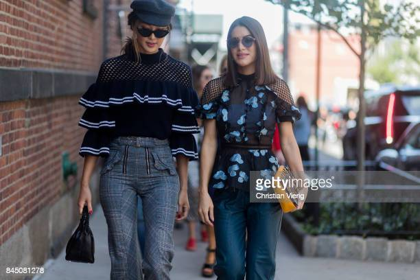Chriselle Lim and Camila Coelho seen in the streets of Manhattan outside SelfPortrait during New York Fashion Week on September 9 2017 in New York...