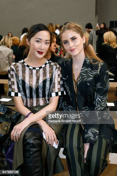 Chriselle Lim and Valentina Ferragni attend the Nina Ricci show as part of the Paris Fashion Week Womenswear Fall/Winter 2017/2018 on March 4 2017 in...