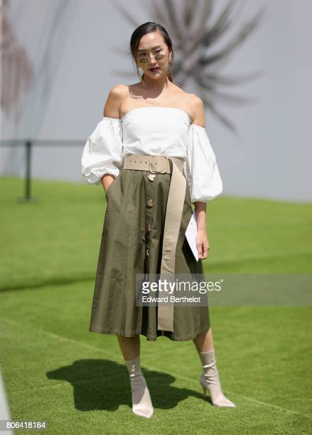 Chriselle Lim attends the Christian Dior Haute Couture Fall/Winter 20172018 show as part of Haute Couture Paris Fashion Week on July 3 2017 in Paris...