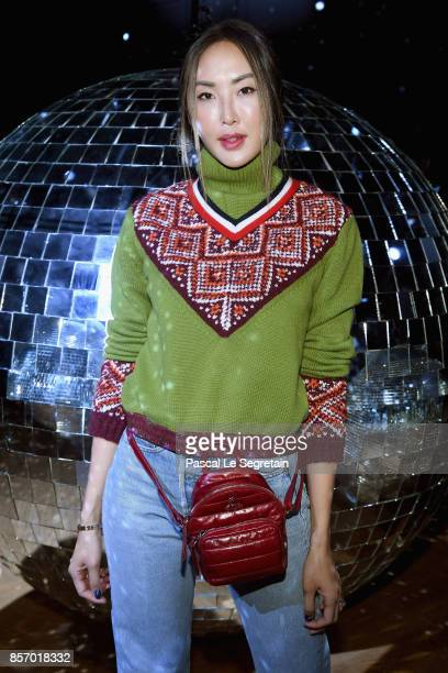Chriselle Lim attends the Moncler Gamme Rouge show as part of the Paris Fashion Week Womenswear Spring/Summer 2018 on October 3 2017 in Paris France
