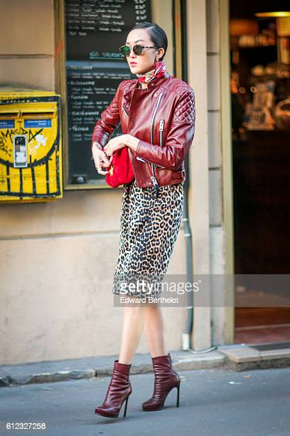 Chriselle Lim is seen outside of the Sonia Rykiel show during Paris Fashion Week Spring Summer 2017 on October 3 2016 in Paris France