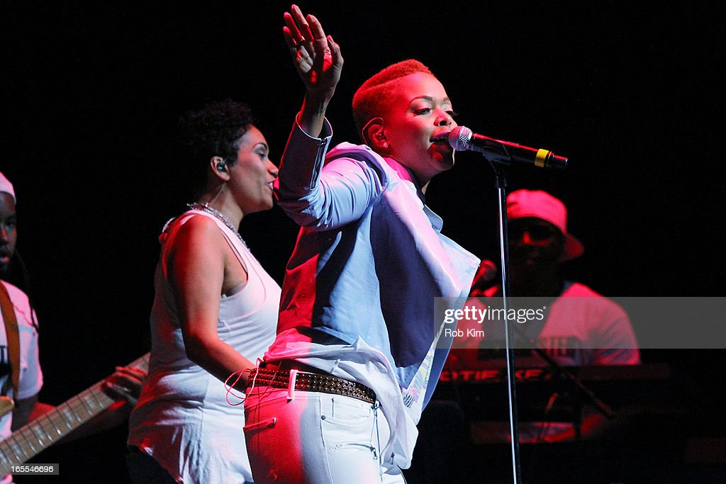 Chrisette Michele performs during the 'Woman To Woman' tour at Beacon Theatre on April 4, 2013 in New York City.