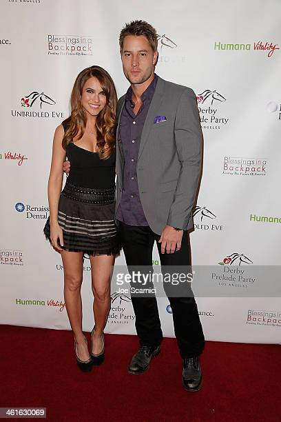 Chrishell Stause and Justin Hartley arrive at the 5th Annual Los Angeles Unbridled Eve Derby Prelude Party at The London West Hollywood on January 9...