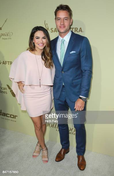 Chrishell Stause and Justin Hartley attend The Hollywood Reporter and SAGAFTRA Inaugural Emmy Nominees Night presented by American Airlines Breguet...