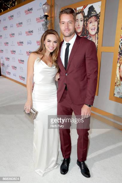 Chrishell Stause and Justin Hartley attend the premiere of STX Entertainment's 'A Bad Moms Christmas' at Regency Village Theatre on October 30 2017...