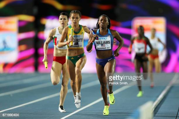 Chrishuna Williams of Team USA competes in the Women's 4 x 800 Meters Relay Final during the IAAF/BTC World Relays Bahamas 2017 at Thomas Robinson...