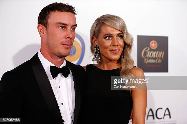 Chriss Lynn and Krystal Opperman arrive at the 2016 Allan Border Medal ceremony at Crown Palladium on January 27 2016 in Melbourne Australia