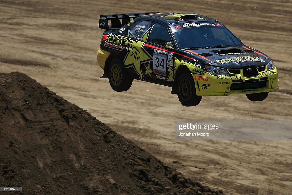 Chrissie Beavis and Tanner Foust compete during the Rally Car Racing Final at X Games 14 on August 3, 2008 at the Home Depot Center in Carson, California.