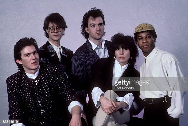 Photo of Chrissie HYNDE and PRETENDERS and Robbie McINTOSH and Blair CUNNINGHAM LR Malcolm Foster Robbie McIntosh Chrissie Hynde Blair Cunningham