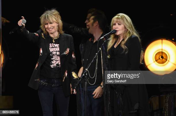 Chrissie Hynde and Stevie Nicks perform 'Stop Dragging My Heart Around' live on stage at Nassau Veterans Memorial Coliseum on April 6 2017 in...