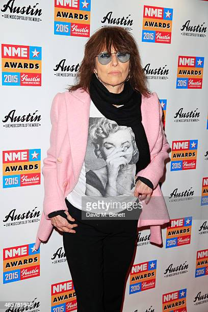 Chrissie Hynde arrives at the NME Awards at Brixton Academy on February 18 2015 in London England