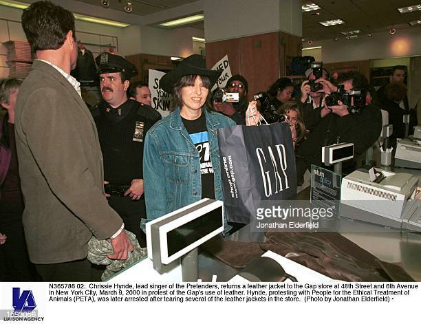 Chrissie Hynde lead singer of the Pretenders returns a leather jacket to the Gap store at 48th Street and 6th Avenue in New York City March 9 2000 in...
