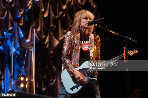 Chrissie Hynde of The Pretenders performs at New Theatre on October 18 2017 in Oxford England