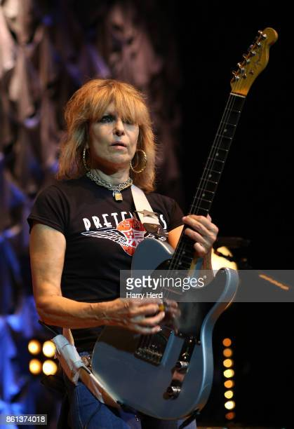 Chrissie Hynde of The Pretenders performs at Portsmouth Guildhall on October 14 2017 in Portsmouth England