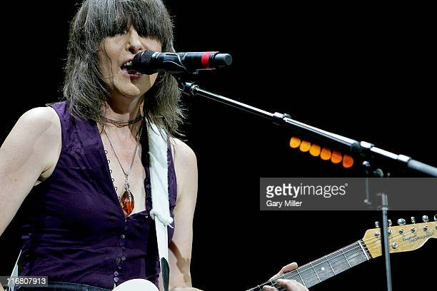 Chrissie Hynde of The Pretenders performs at the Verizon Wireless Amphitheater on August 05 2007 in San Antonio Texas