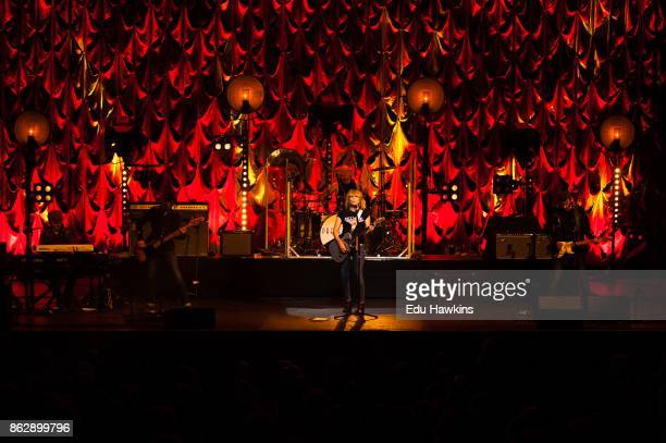Chrissie Hynde of The Pretenders performs live on stage at New Theatre on October 18 2017 in Oxford England