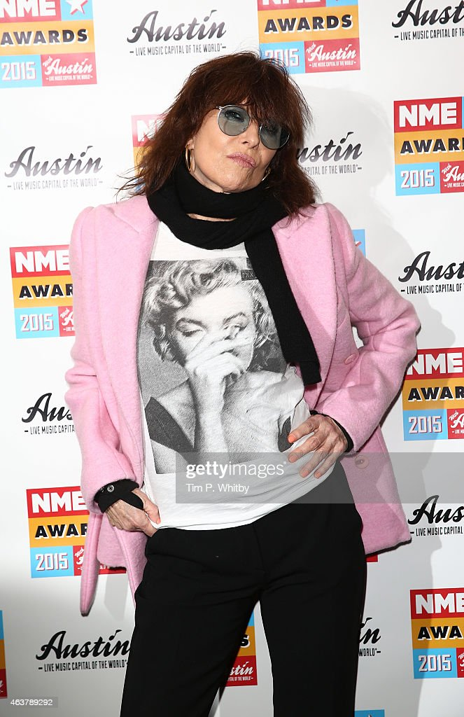 Chrissie Hynde poses in the winner's room at the NME Awards at Brixton Academy on February 18, 2015 in London, England.