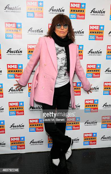 Chrissie Hynde poses in the winner's room at the NME Awards at Brixton Academy on February 18 2015 in London England