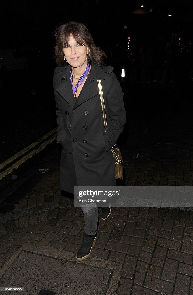 Chrissie Hynde sighting leaving the Apollo Theatre Hammersmith on October 14, 2013 in London, England.