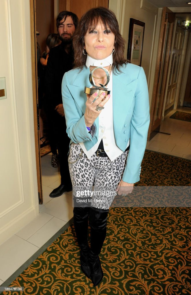 <a gi-track='captionPersonalityLinkClicked' href=/galleries/search?phrase=Chrissie+Hynde&family=editorial&specificpeople=211565 ng-click='$event.stopPropagation()'>Chrissie Hynde</a>, winner of the Classic Songwriter award, poses in the press room at The Q Awards at The Grosvenor House Hotel on October 21, 2013 in London, England.