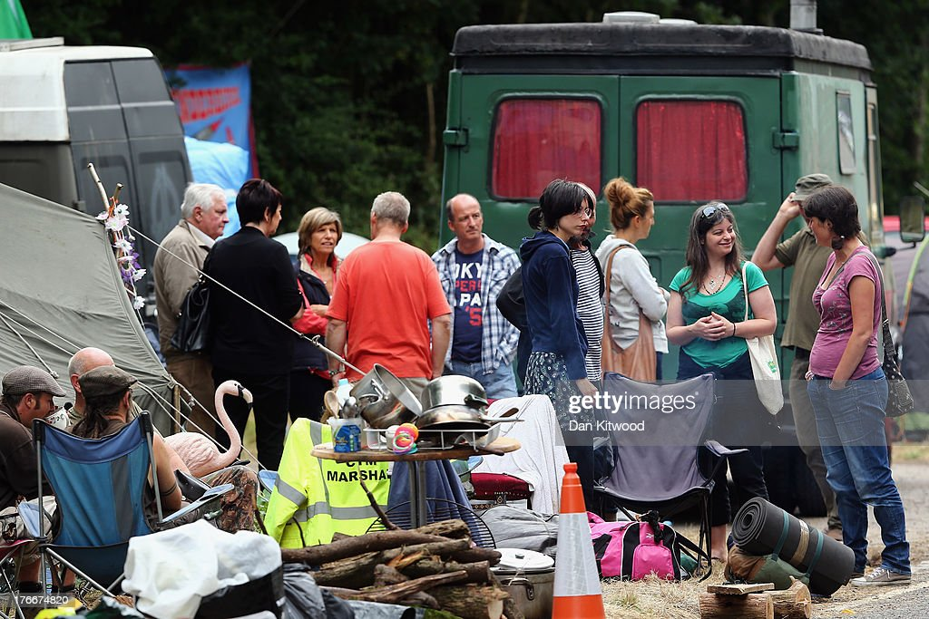 Chrissie Hynde's daughter Natalie Hynde arrives to joins protesters outside the entrance gate of a drill site operated by Cuadrilla Resources Ltd on...