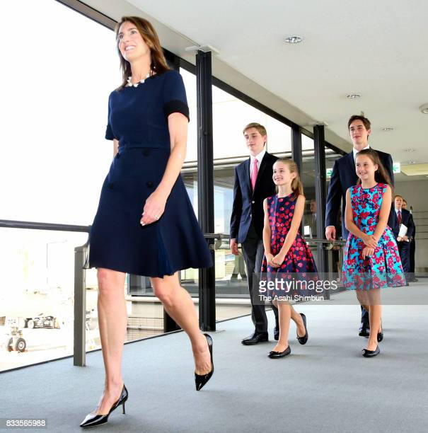 Chrissy Hagerty wife of new US Ambassador to Japan William Hagerty and her children are seen on arrival at Narita International Airport on August 17...