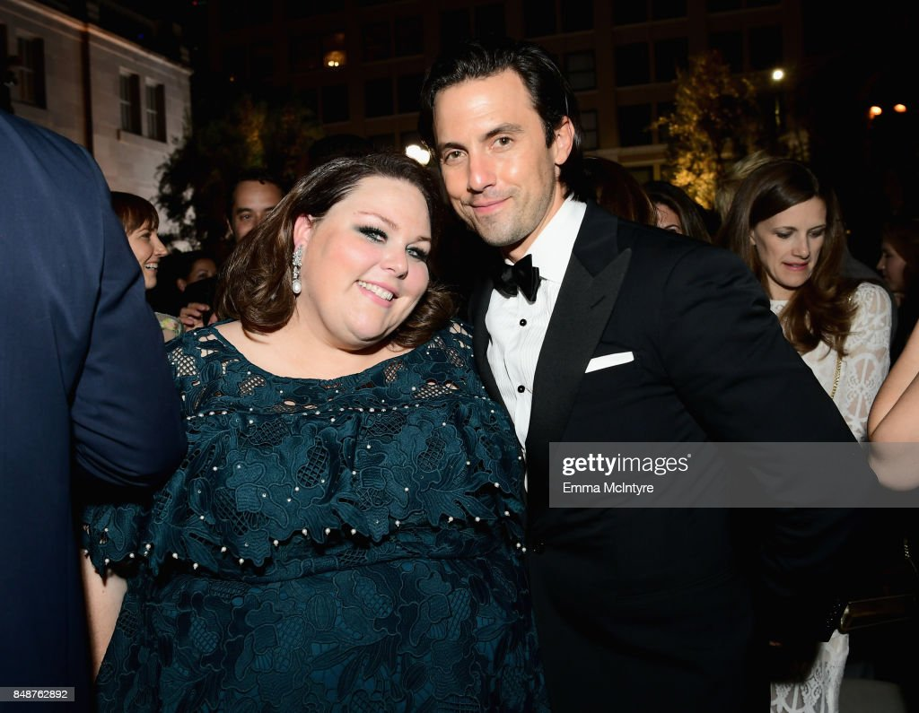 Chrissy Metz and Milo Ventimiglia attend FOX Broadcasting Company, Twentieth Century Fox Television, FX And National Geographic 69th Primetime Emmy Awards After Party at Vibiana on September 17, 2017 in Los Angeles, California.