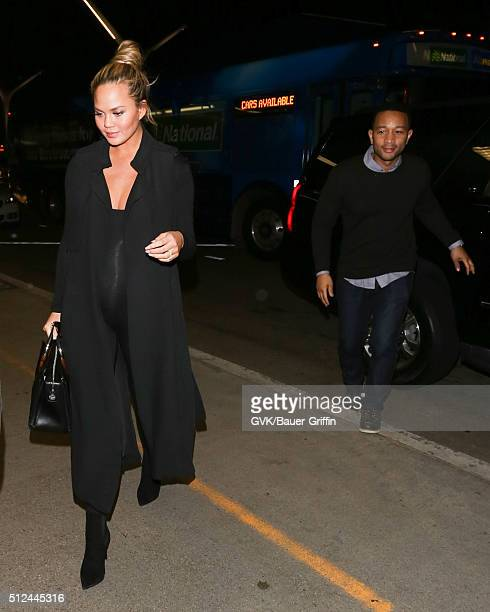 Chrissy Teigen and John Legend are seen at LAX on February 25 2016 in Los Angeles California