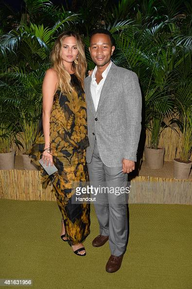 Chrissy Teigen and John Legend attend a Dinner and Auction during The Leonardo DiCaprio Foundation 2nd Annual SaintTropez Gala at Domaine Bertaud...