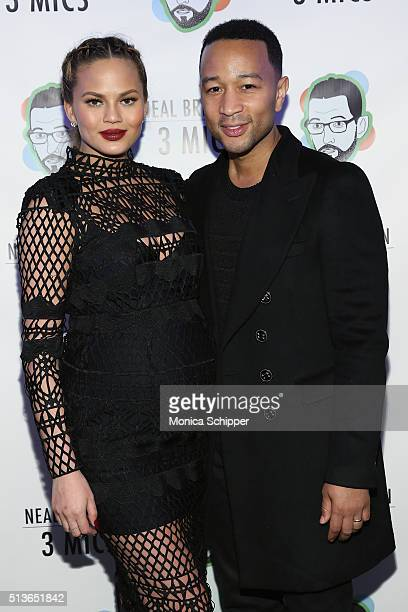 Chrissy Teigen and John Legend attend 'Neal Brennan 3 Mics' Opening Night at the Lynn Redgrave Theatre on March 3 2016 in New York City