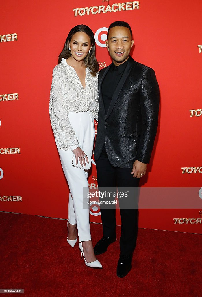 Chrissy Teigen and John Legend attend Target's Toycracker Premiere event at Spring Studios on December 7, 2016 in New York City.