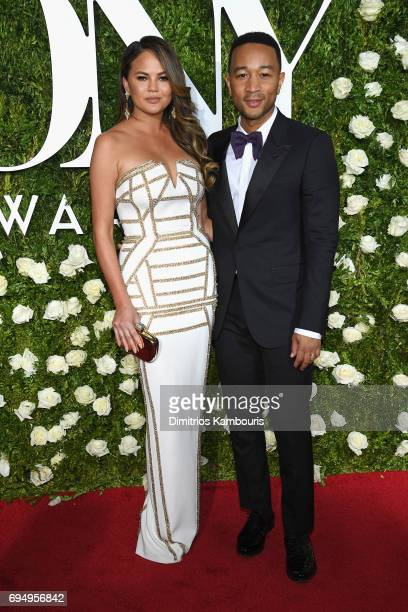 Chrissy Teigen and John Legend attend the 2017 Tony Awards at Radio City Music Hall on June 11 2017 in New York City