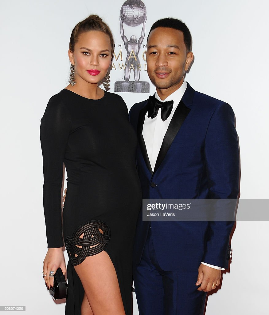 Chrissy Teigen and John Legend attend the 47th NAACP Image Awards at Pasadena Civic Auditorium on February 5, 2016 in Pasadena, California.
